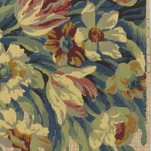 Bouquet of flowers, including tulips, and leaves, cascading diagonally from a thin crimson border. The background is a cream tweed print with hints of red. The flowers are muted tones of prink, orange, navy, and forest green,