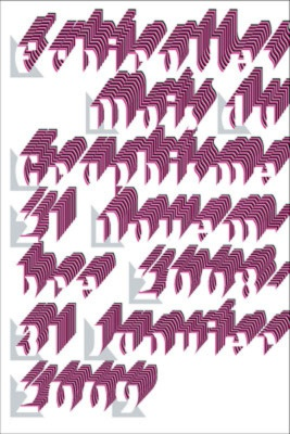 """Digital animation featuring the text """"Échirolles Mois du Graphisme 21 Novembre 2008 - 31 Janvier 2009"""" emerging and receding in gray, pink, purple and white to the music of Maurice Ravel."""