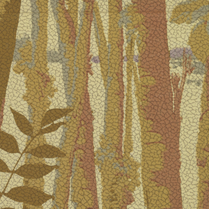 Scene of trees with a lake and mountains in the background and oval plant-leaves in the foreground. Leaves are an army green; trees are a light green and soft pink; background is a cream and gray. Colors soften from foreground to background. Off-white background on pebble embossed paper.