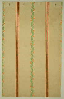 Alternating thin orange stripes with small green sqaures framed by burgundy stripes and braided green leaves with small orange circles. The background is off-white. The paper is pebble-embossed.
