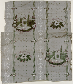 Floral stripes with alternating thin and thick bands.  Thick bands contains alternating water mills and floral designs.  Printed in varnished green, red and white on gray ground.