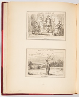 Two calendar illustrations for Elgin Watch Almanac. The top illustration, for July, shows a family. The father stands looking down at his pocketwatch. The bottom illustration, for September, shows an old apple tree.