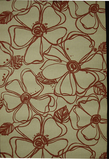Dense pattern of five-petalled flower motifs created with a red ouline. The line is blurred or has bled in numerous places around each flower. Sots of red appearing on some of the flowers appear randomly placed. Printed on an off-white or tan ground.
