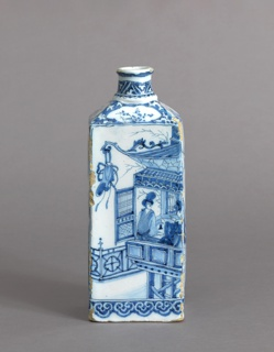 Tall rectangular body, sloping shoulders, round neck with top and bottom rim; painted in underglaze blue on white, on sides above cloud-band border with Chinese figures in landscapes and pavillions, on shoulders and neck with chinoiserie motifs; traces of gilding throughout.
