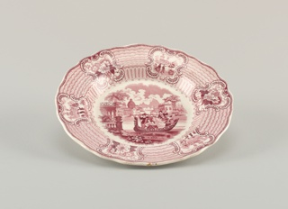 Scalloped plate with six scenes around the rim. Central design shows a group of figures on a boat.