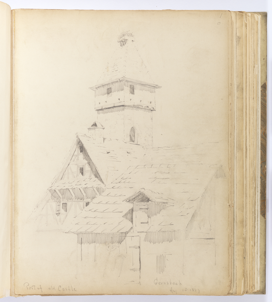 Vertical sheet with sketch of a cluster of half-timbered buildings, possibly for storing hay or grains.  The single-story building in the foreground has deep eaves and a single dormer with casement window opening.  A larger but similar building in the mid-ground has a buttressed eave, three window openings and a small chimney.  At the rear of these two buildings is a multistory masonry tower with steep, tiled roof with small windows visible below the roofline.
