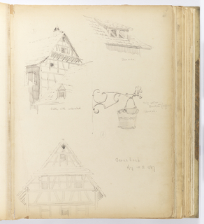 Vertical sheet with four sketches, clockwise from upper right: dormer; (A) a holy water bucket from a church; a half-timbered façade; (B) a gable with water-shed.  The dormer has a double arched-top window opening and the roof above the dormer is flat.  The holy water bucket is hung by a twisted bale handle on a projecting bracket of copper or wrought iron made of c-scrolls in a Baroque style.  The buliding façade at bottom left is the least refined, and is sketched close to the building as the area under the roof tiles and eaves is visible.  The gable with water-shed is more delicately sketched, showing two bulding rooflines, the one in the background having a projecting eave, visible timber construction, and small window openings punctuating its façades.