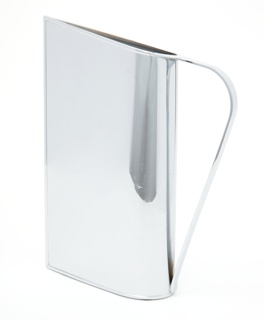 Chrome-plated vessel, teardrop-shaped in cross section to form pointed spout; flat strap handle opposite.