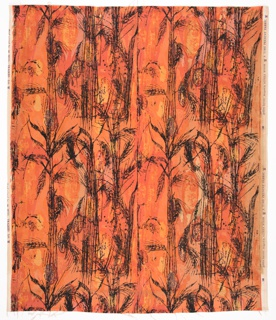 Printed length has a loosely rendered design of wheat sheaves in black against bright washes orange and yellow color.