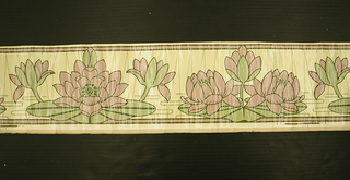 Two alternating motifs of water lilies: one large central flower between two buds, and two flowers on either side of a central bud. Brown architectural molding above and below. Printed in pink, green, and brown on a yellow ground.