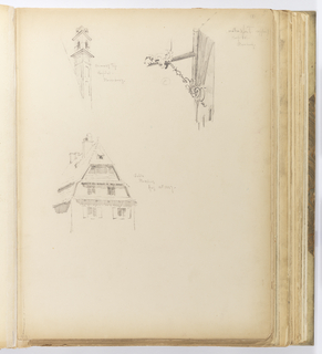 Vertical sheet with three sketches of details from buildings in Strasburg, clockwise from top left:view of a roofline corner with a slender chimneytop behind.  The chimneytop has blind panels interrupted by a projecting cornice, above which are two round-arched openings on the two visible façades.  Above this is another projecting cornice surmounted by two gables on either face; at right is a detail of a waterspout visible on a building façade.  The gutter projects from the building and a second piece in the shape of a dragon's head creates the mouth from which the water sprays.  This piece is tethered to the wall of the building by an intricate s-link chain and ornamental bracket.  Below is a three-story building with a prominent, tiled gable roof and multiple chimneys punctuating its roofline.