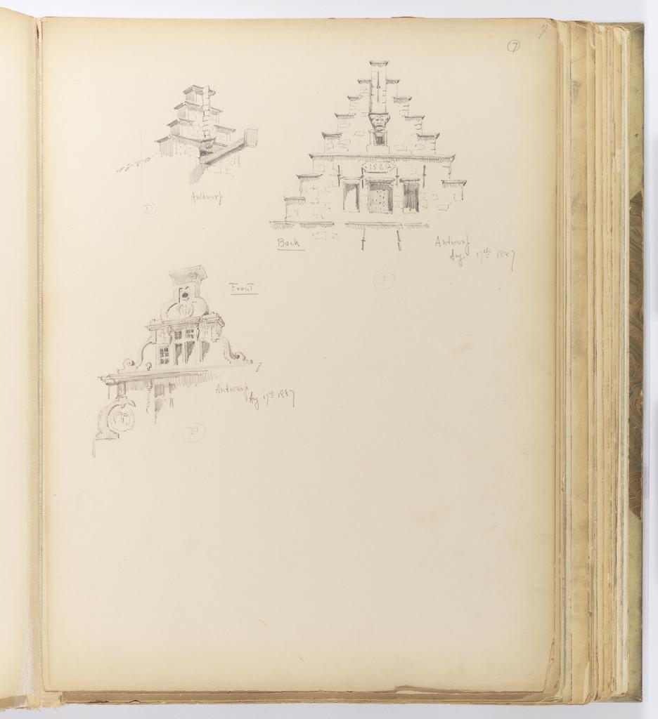 Album Page, Three Sketches of Building Details, Antwerp
