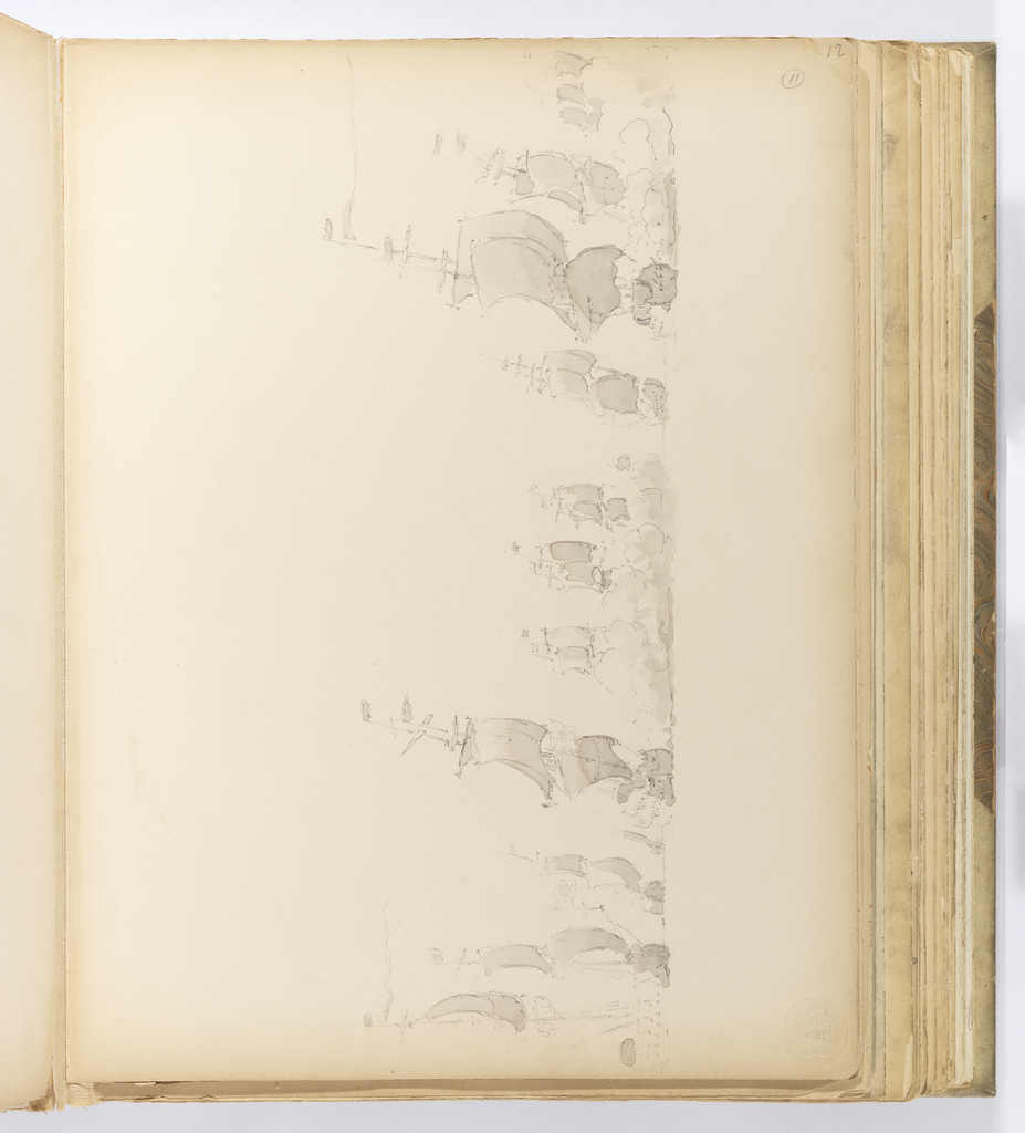 Horizontal sheet bound vertically in album.  A view of a fleet of warships (man-o-war) which face away from the viewer with the stern of the ships visible.  Only the ship at the far left is visible from the side.  It and the boat closest to it carry the flag of Great Britain.  Many of the ships are concealed from full view by fog or smoke.  See also 1943-51-94; 1943-51-95.