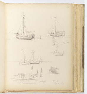 Vertical sheet containing six sketches of beached sailboats.  Each has a few sketchy figures nearby to indicate scale.
