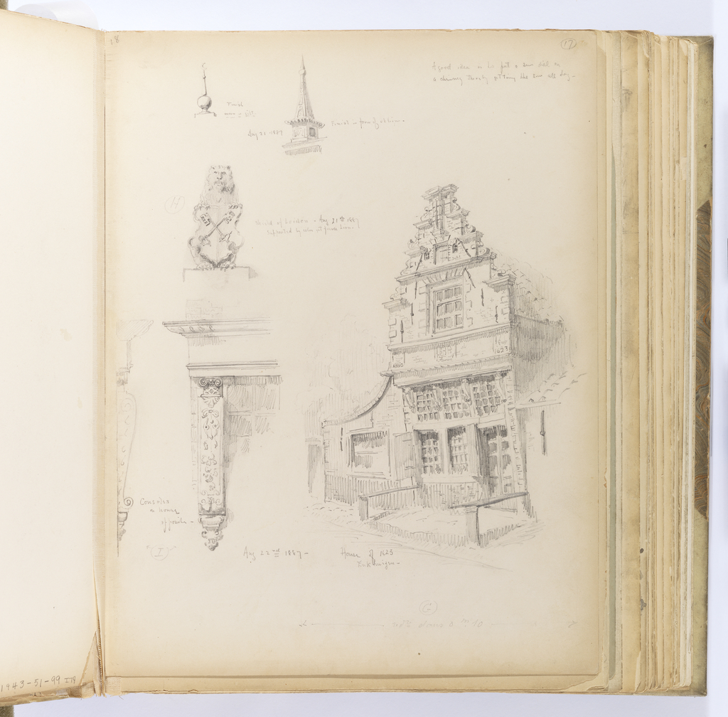 Six sketches arranged on vertical sheet.  At top left, two sketches of finials: one is a ball mounted with a crescent moon; the other is in the shape of an obelisk.  At right, a three-story masonry house with steeply pitched, tiled roof, an elaborate 'trapgevel' façade in the Dutch manner.  Above the second story is a date plaque on either end of the façade: ANNO 1623, with the initials of the original owner in the center of the plaque.  The upper story was likely added to a three-over-three configuartion of the earlier building at the first and second stories.  The upper window is framed by quoins of large blocks with two small, similarly detailed round-arched windows above.  Tie rods decorate the upper levels of masonry while the lower half of the façade has a bracketed cornice below the date plaque.  To the left of this sketch are two details of the brackets on the same house.  They are in full Mannerist strapwork style and are seen both in elevation and from the side.   Above this is a small sketch of a cartouche of the shield of Leiden in the form of a lion with yawning mouth sitting upright presenting a shield with crossed keys.