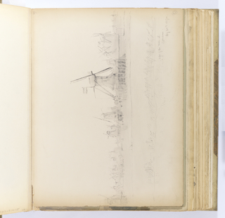 Horizontal sheet bound vertically in album.  Study of many windmills in an open, marshy landscape.  In the foreground are short grasses.  At a further distance in the midground is a large windmill at center right, seen from the side.  The mill consists of an octagonal central tower that graduates in diameter until  it is capped by a rounded roof from which large blades spin.  Two large supports buttress the roof and are anchored into the short story beneath the tower.  This tower and another to its right bear a striped flag with three bands of color - the center band is lighter than the upper and lower bands.  Similar mills are seen along the horizon.