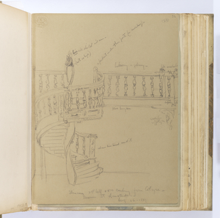 "Vertical sheet depicting on recto a wooden balcony or gallery and circular staircase with balustrade sketched quickly, containing many inscriptions by the artist defining the details which are not fully worked.  The horizontal balcony element is supported by a heavy beam, the end post terminating at top and bottom with ""cupid faces"" as defined by the artist.  Below the beam at right is a figural wood corbel that the artist describes as ""wooden... / support bar"".  The newel post at the top of the staircase has ""a lion with shield and arms (not so high)""; underneath the newel post opposite to this, presumably hanging from the beam obscured by the staircase, is what the artist describes as ""a pendant under this post"" in the shape of ""a monkey"".  The staircase is carved along the top edge and has what the artist defines as a ""scroll, small french curve"" below.  The rail is connected to the baseboard by balusters, and consists of three registers: a ""leaf"" at top, a ""scroll"" in the middle, and ""leaf egg"" with a ""bead"" below.  The treads at the bottom of the staircase fan out into a curved bottom stop wider than the rest of the staircase.  The artist notes to the right of the bottom newel post ""columns .... around it"".    Depicted on verso is a small band of scrolls contained in a rectangle; another small sketch of wavy lines framed by beading at top and bottom."