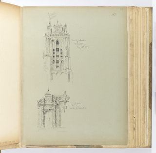 Vertical sheet with two sketches: above, a Romanesque cathedral tower with noticeable additions.  The tower's façade is articulated by three tall lancet window openings with louvers (possibly containing a bell within).  A small arcaded tracery balustrade is below.  Above the lancets is a broken pediment that projects upward, surmounted by ball finials at the three corners of the pediment.  At right is another finial; at left, a short masonry element supporting a flag.   This story has a small gallery that projects forward.  Beneath these projections are tall, slender masonry supports creating an openwork lancet.  The drawing on the lower half of the sheet is a detailed sketch of a Baroque doorway.  The doors are framed by an arch with quoins and doric columns supporting a thick cornice. Above each column is a lion facing the other.  The façade continues behind them: a broken pediment is raised up ending in a semicircular cap.  Large c-scrolls at either side further define the imposing pediment.  Behind this is the continuation of a wall with a gallery at right.