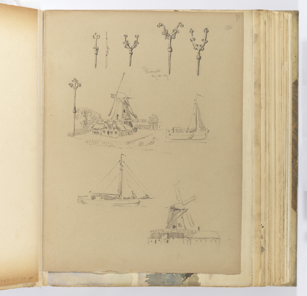 Album Page, Sketches of Ironwork, Mills and Riverboats