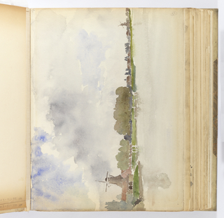 Horizontal sheet tipped into album vertically.  At left is a brown mill seen from the front, small lighter brown buildings are seen in the foreground.  There is a sketchy indication of trees and perhaps a green, marshy area adjacent to a body of water.  At right is another small mill and the indication of similar buildings at right.  The sky is thick with clouds breaking as though a storm was blowing in or had just ended.