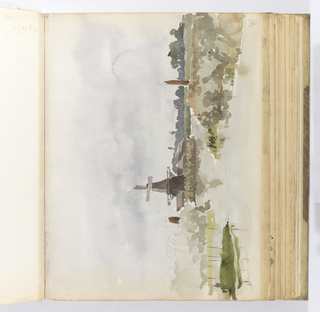 Horizontal sheet tipped vertically into binding.  In the center of the midground, a mill is seen from the front at a distance in a marshy landscape.  The view of the artist is from across a body of water where marsh grasses are indicated, and the water deep enough for two small boats to navigate it.  The mast and sails of two boats are visible at left and right of the mill, further obscured by the grasses in the foreground.