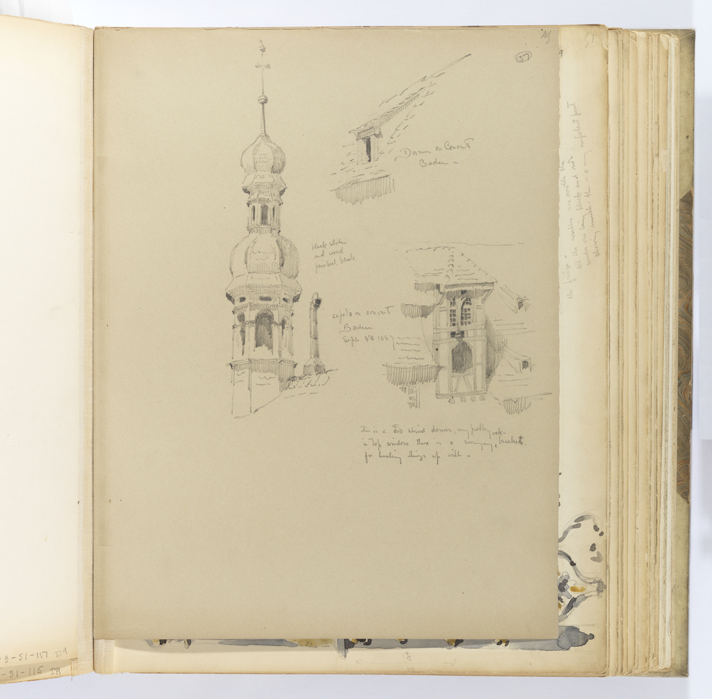 """Vertical sheet depicting three sketches of architectural details.  At left, a slender tower with octagonal domed cupola rises from a tiled roof.  Adjacent to the base of the tower is a cross seen in a three-quarter view.  The tower consists of two repeated sections: an arcade topped by an octagonal dome, that is surmounted by a tall finial with a ball and weathervane.  According to the artist's inscription, the cupola is made of """"black slate / and wood / painted black.""""  At upper right is a very low dormer over a window that breaks the tiled roofline of, as the artist notes, a """"convent / Baden.""""  Below right is the detailed sketch of a two-story dormer with glazed window and half-timbering decoration on the facade.  The artist notes that in the """"top window there is a swinging oak bracket / for handing things up with."""""""