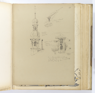 "Vertical sheet depicting three sketches of architectural details.  At left, a slender tower with octagonal domed cupola rises from a tiled roof.  Adjacent to the base of the tower is a cross seen in a three-quarter view.  The tower consists of two repeated sections: an arcade topped by an octagonal dome, that is surmounted by a tall finial with a ball and weathervane.  According to the artist's inscription, the cupola is made of ""black slate / and wood / painted black.""  At upper right is a very low dormer over a window that breaks the tiled roofline of, as the artist notes, a ""convent / Baden.""  Below right is the detailed sketch of a two-story dormer with glazed window and half-timbering decoration on the facade.  The artist notes that in the ""top window there is a swinging oak bracket / for handing things up with."""