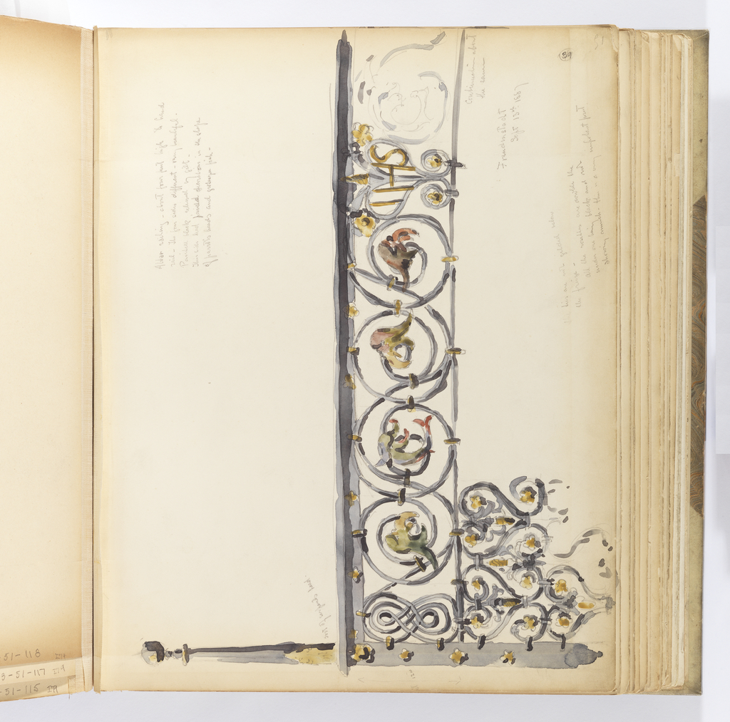 """Horizontal sheet tipped vertically into binding depicting an elaborate black ironwork railing, as the artist notes, is from an altar.   At left the railing begins with a thick square post decorated with very small gold quatrefoils (possibly blind?), and terminates in a tall post that emerges from what the artist calls a """"sort of serpents head,"""" and is capped by a ball finial.  The decorative frieze of the railing adjacent to the post is in the shape of repeated figure 8, which trails into a single rod of metal that makes large scrolls (according to the artist's notation, this is """"12 in"""".  The scrolls regularly terminate in the head of either a dolphin or a parrot.  The scrollwork meets what is likely the center of the railing where the letters IHS painted golden yellow are inscribed in two confronted scrolls that create the shape of a heart.  Beyond this the scrollwork is only rendered faintly with watercolor to indicate the railing's continuation.  Below this are two sets of ironwork of the same pattern, a heart shape similar to that in the section of railing above, although only scrolling and foliate elements highlighted in gold are contained therein."""