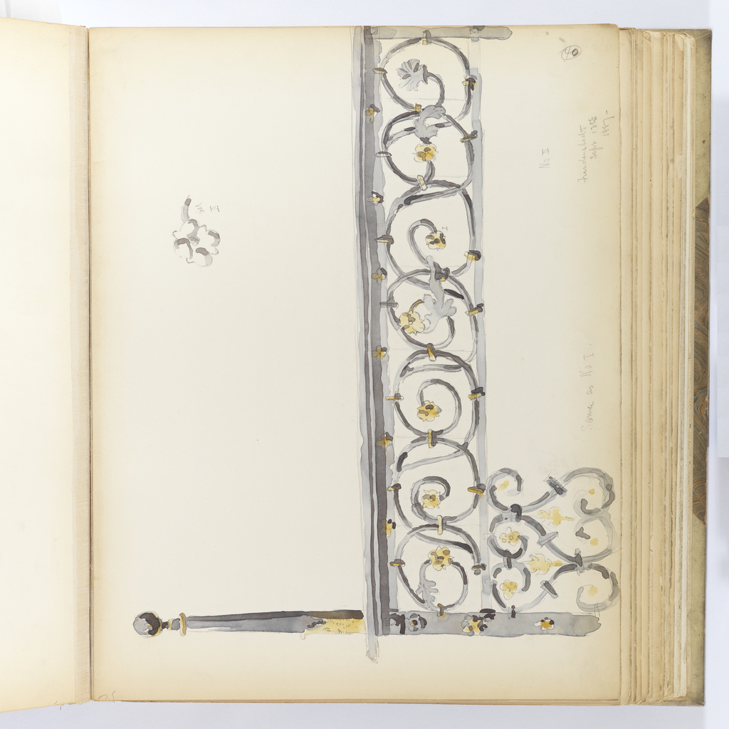 Horizontal sheet tipped vertically into binding.  Ornamental railing with faceted, tapered newel post ending in a ball finial.  The railing consists of two levels of scrolling ornament with joints highlighted in golden yellow.  The scrollwork terminates in small flowers, also in golden yellow.  A small, detailed drawing of one of the flowers is positioned to the upper right of the drawing of the railing and is noted as I, which corresponds to a small flower in the railing that is rendered less clearly.   Related to railing depicted in 1943-51-119.