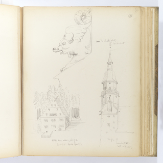 "Vertical sheet containing three sketches. Above, a detail of a winged, serpent-like creature resting its arms on a slanting support, and its tail curled upward.  According to the artist's inscription, this is an ""arm to a church stall"".  Below left is a small square building with steeply pitched roof and 'trapgevel' façade nestled in a dense stand of trees.  At lower right, the steeple of a Romanesque masonry tower.  The steeple has two octagonal levels, the uppermost topped by a tall cupola and small square tower with ball finial and weathervane."