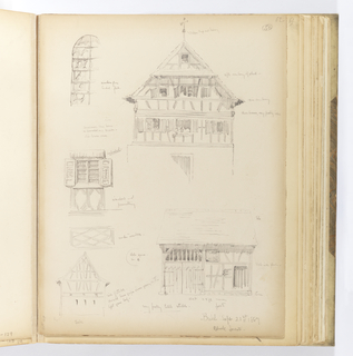 Vertical sheet with sketches of timber structures and architectural details.  At top left is a round-arched leaded glass window composed of round glass lenses and promient metal bars dividing the window vertically and horizontally.  At right is the façade of a timber and plaster building with its upper stories fully rendered.  The building has a tiled roof, deep eaves, and a projecting canopy.  At center left are two sketches: the shuttered window of a water shed, and the detail of cross-beam paneling below.  Below these is another quickly sketched half-timbered building (possibly the same as that shown above right).  At bottom right is a stable seen from the side.  Its has a pair of double doors with an open timbered slats above.  Its right side is timber and plaster with a stone course below.  It has a single door opening with a small square window to its proper right.  Above this is another square window with prominent strap hinges also at proper right.