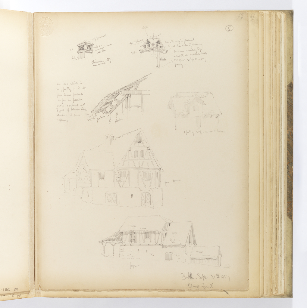 """Vertical sheet with six sketches of architectural details.  At the top are two different styles of chimneys with the artist's notes about colors and material.  Below this at left is the detail of the underside of an eave with the artist's notes again about material and and position of the elements, specifically """"to let / floor beams protrude / as far as possible / under overhang and / to fill up betweenwith plaster / it gives / softness"""". To the right of this is a lightly sketched timber structure with a prominent dormer and roof with deep eaves visibly supported by beams from underneath.  Below this drawing is another half-timber and plaster stucture identified as a """"farm house"""".  At bottom right is a large half-timbered building with masonry lower story and a low, swooping wooden eave supported by y-shaped timbers at the front.  A smaller timber structure with steeply pitched roof is attached to the rear."""