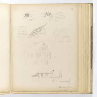 "Vertical sheet with six sketches of architectural details.  At the top are two different styles of chimneys with the artist's notes about colors and material.  Below this at left is the detail of the underside of an eave with the artist's notes again about material and and position of the elements, specifically ""to let / floor beams protrude / as far as possible / under overhang and / to fill up betweenwith plaster / it gives / softness"". To the right of this is a lightly sketched timber structure with a prominent dormer and roof with deep eaves visibly supported by beams from underneath.  Below this drawing is another half-timber and plaster stucture identified as a ""farm house"".  At bottom right is a large half-timbered building with masonry lower story and a low, swooping wooden eave supported by y-shaped timbers at the front.  A smaller timber structure with steeply pitched roof is attached to the rear."