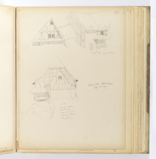 Vertical sheet containing three sketches of buildings.  At top left is the upper section of a half-timbered structure. At top right is a timber building with a tall tiled roof with a small dormer at the corner.  At center is a half-timber building with smaller shed at the front, and a water source flows from under the building's right corner.