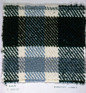 Straight 2/3 twill plaid in shades of blue with white.  Warp: stripes of white string, novelty light blue yarn, 2 shades of blue yarn alternating. Weft: white synthetic, dark blue chenille, and light blue chenille, paired with flat metal.