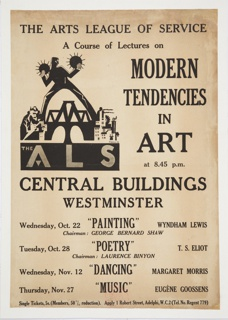 Poster, A Course of Lectures on Modern Tendencies in Art