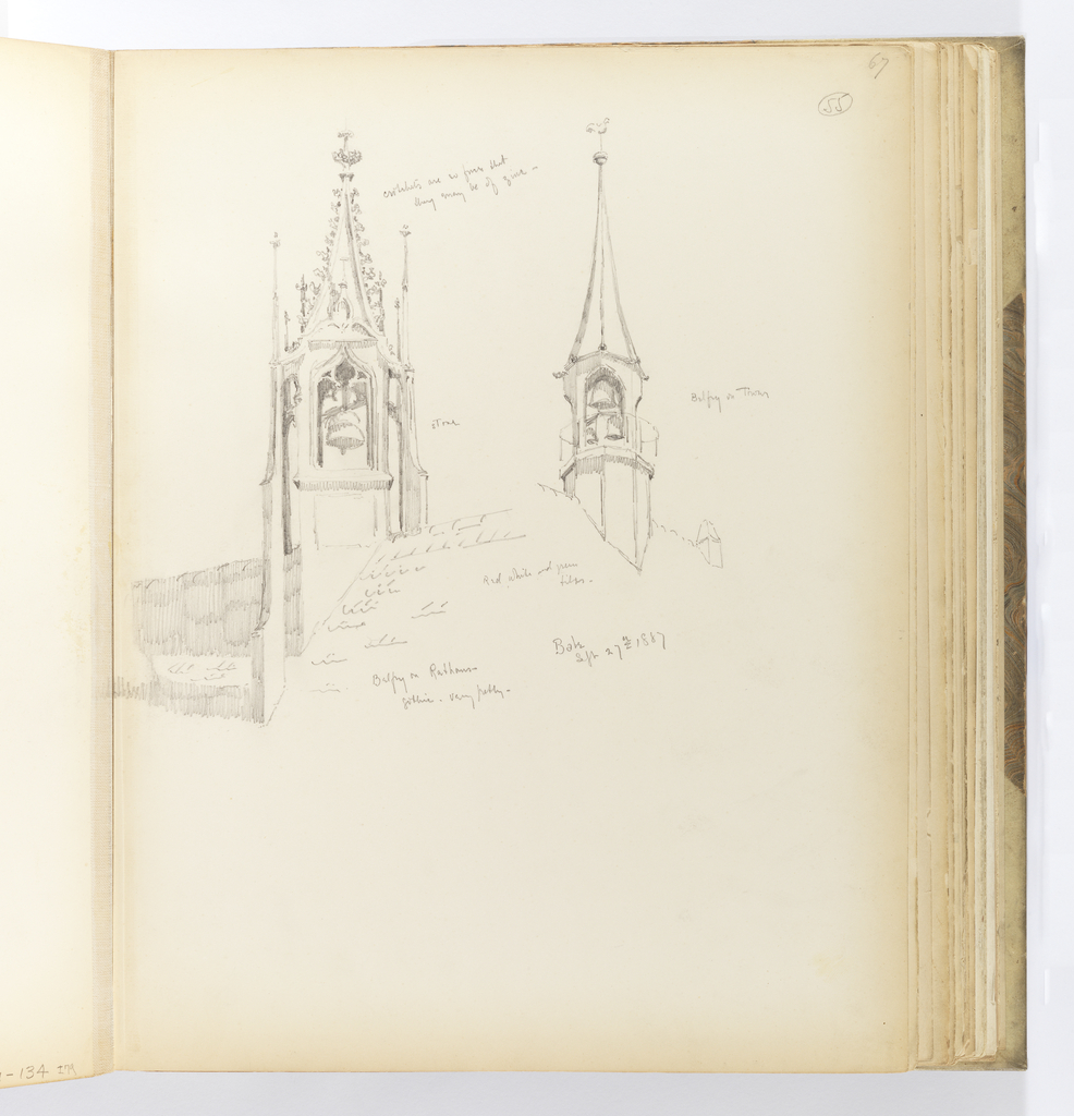 Vertical sheet containing two sketches of belfries.  The belfry at left is a small Gothic tower which projects from a tiled roof.  The tower has a stonework lancet on all sides and small bell visible in the center.  Its roof rises to a very narrow steeple and is adorned on all sides by very finely worked crockets.  The other belfry at right is also Gothic in style but much more simple, rising from a short octagonal tower and encircled by a gallery.  It has a paneled roof that rises to a narrow steeple with small ball finial at top.