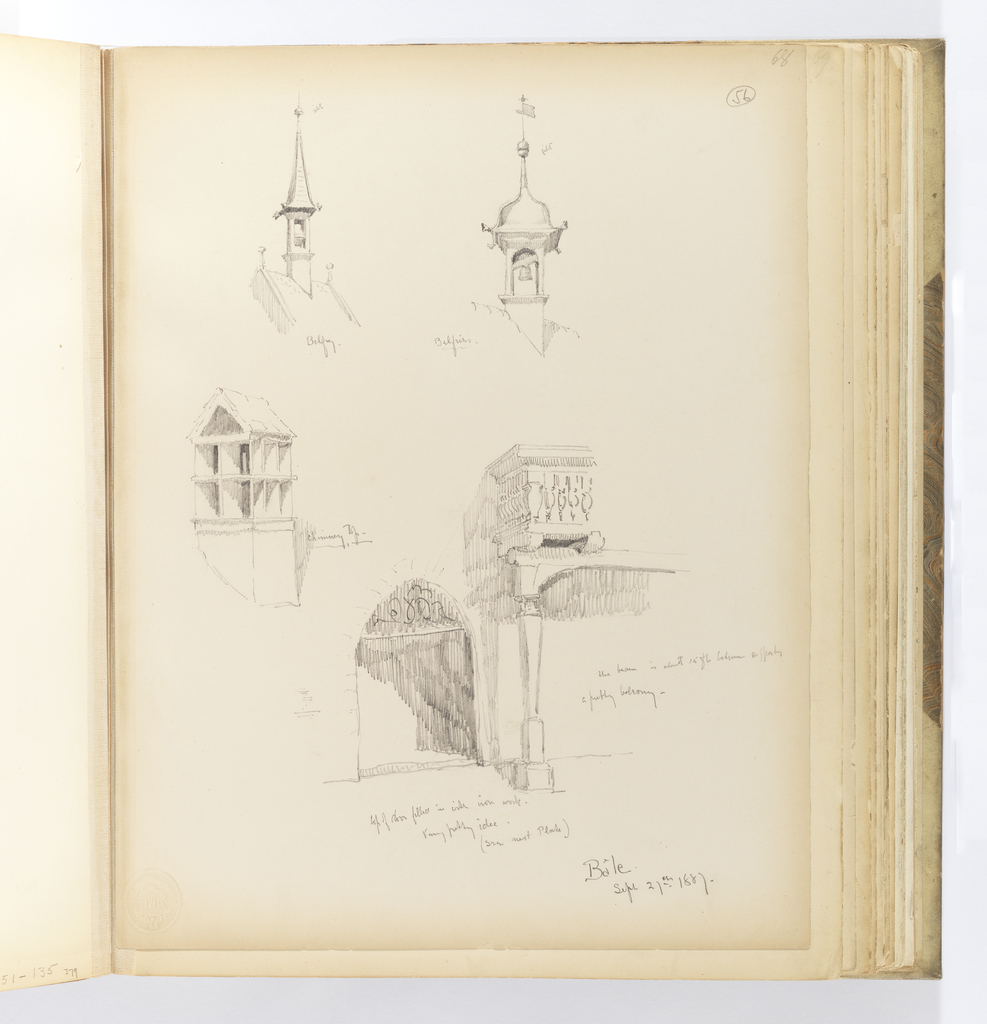 Vertical sheet with five sketches of architectural details.  Depicted in the upper half of the sheet are two belfries, each with a gilt ball finial, as noted by the artist.  Below this at left is a chimney top with two rows of openings topped by a small pitched, tile roof.  At bottom left is a doorway framed by quoins.  At right is balcony with balustrade viewed from below.