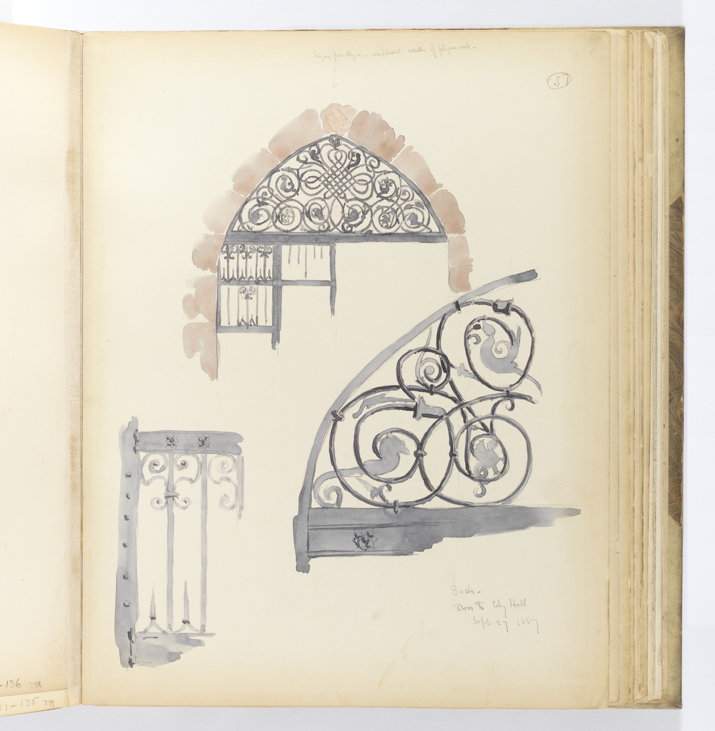 Vertical sheet depicting a doorway with an iron gate framed by ashlar masonry with an open transom above filled with elaborately interlocking and scrolling ironwork.  The ironwork of both the transom and the gate are magnified in detail in two sketches below.
