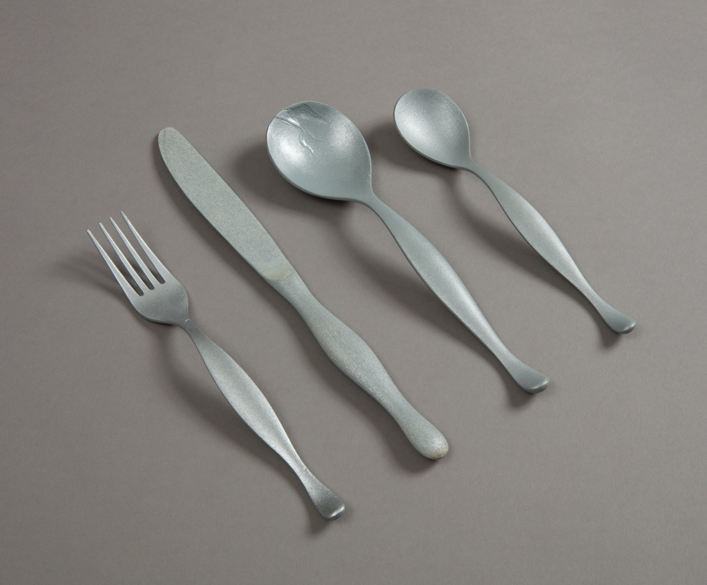 Metallic-painted, four-tined balsa wood fork with curved contoured handle.