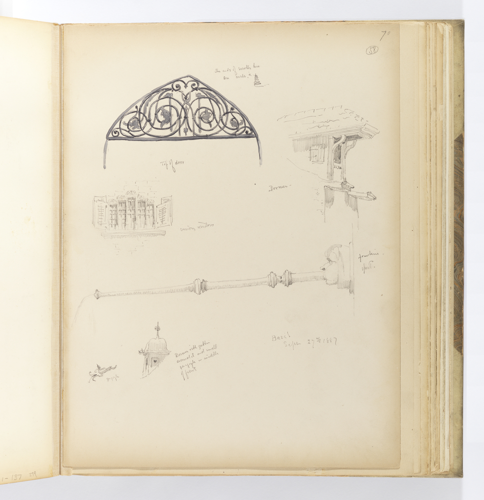Vertical sheet with numerous sketches of architectural elements.  Clockwise from bottom left: a dormer with ogee-shaped roof, gutter, and small gargoyle spout at the corner.  This same spout is drawn to the left.  Above this is a horizontal fountain spout in the shape of a man blowing into a pipe.  In the top half of the sheet are three sketches: below left is a window made of five round-arched lancets that graduate in size. The window is flanked by louvered shutters.  Above is the arched top of a doorway filled with greyish black scrolling ironwork.  At right is a dormer with a tiled roof that cantilevers far over the window opening below it.  The cantilever is supported by ogee brackets on either side of the window.