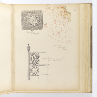 Vertical sheet with three sketches. At top right is a section of wall decoration from Sant'Ambrogio, Milan.  One quadrant of a sunburst is depicted with green, pink, and yellow wavy rays emanating from the center.  To the left of this is  graphite version of the entire motif, like a pinwheel with alternating shaded arms.  Below this is a railing section with vertical members filled with squares of scrolling ironwork.