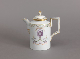 Tall, cylindrical; slightly outcurved spout; rectangular handle, slightly domed cover with pineapple finial.  Decoration, in pale colors, of an urn with foliate rinceaux, and bands of foliage in color and gilding.  Bottom unglazed.