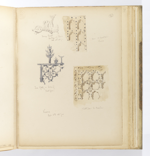 Vertical sheet with four sketches of architectural elements.  At top left is a faucet in the shape of a winged bird.  At right is the section of a door from the church of St. Anastasia.  The door is composed of rows of small tri-lobed arches, possibly painted white, and decorated by nailheads.  Below this at right is another wood door from St. Anastasia also with a creamy-white finish.  This door is ornamented by rows of carved quatrefoils with a border of half-rosettes and a diamond pattern.  Dark gray nailheads stand out in contrast.  At lower left is a section of an iron railing consisting of joined quatrefoils.