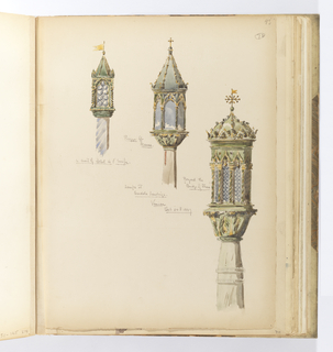 Vertical sheet with an uneven or torn bottom edge and pinholes at all four corners.  Three lamps on pedestals at gondola landings are depicted, all in shades of green with small elements highlighted in yellow to indicate gilding.  From left, a lamp in front of the Hotel de l'Europe; in the middle, a lamp from Piazza San Marco; and at right, a lamp from the landing near the Bridge of Straw (Ponte delle Paglia).