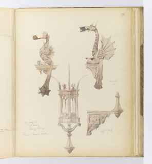 Vertical sheet with four sketches of lighting implements.  At the top left and right are two torch bearers. The one at left in the form of griffin with the head of a classical goddess which holds in her mouth a short flange that ends in a large round bobeche.   The one at right is a similar form, but instead is a  horned dragon with its spiny wing extended, and it holds a different bobeche in its mouth.  Below center is a large iron lamp in the form of a small building.  Three columns support an entablature from which three very large curved spikes rise from the corners.  The two sides that are visible have a double lancet opening and panels below.  To the right of this drawing is the bracket that supports the lamp, decorated with a lion, banner, modillions, and rosettes.  The drawings are all tinted a pinkish-gray.