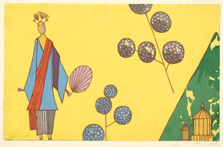 Stylized elongated woman in blue kimono holding fan with floating  blue and plum peony branches and two tiny pavillons against mountain in distance on yellow background.