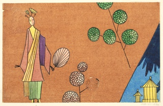 Stylized elongated woman in pink and brown kimono holding fan with floating pink-brown and green peony branches and two tiny pavillons against mountain in distance on light-brown background.