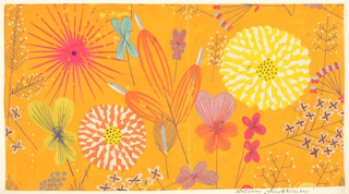 Pattern of wild flowers in mauve, orange, yellow, teal, and blue on orange ground.