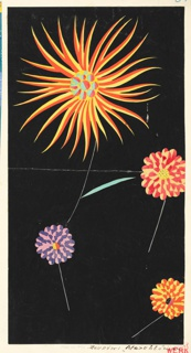 Four scattered blossoms on black ground; three with rounded petals in salmon, lavender and orange; larger one with radiating petals in orange.